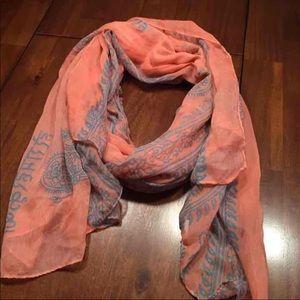coral + light blue scarf